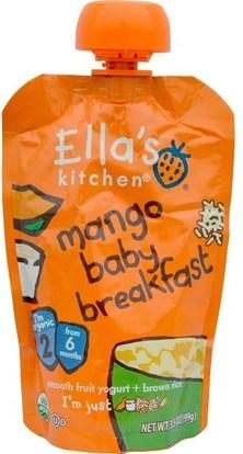 Ellas Kitchen, Mango Baby Breakfast, Smooth Fruit Yogurt + Brown Rice, 3.5 oz (99 g) ,صحة الأطفال، أغذية الأطفال، تغذية الطفل، الغذاء