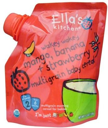 Ellas Kitchen, Wakey Wakey Mango, Banana + Strawberry Multigrain Baby Cereal, Stage 2, 5.3 oz (150 g) ,صحة الأطفال، أغذية الأطفال، تغذية الطفل، حبوب الأطفال