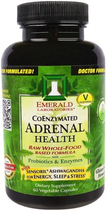 Emerald Laboratories, CoEnzymated Adrenal Health, 60 Veggie Caps ,الصحة، دعم الكظرية