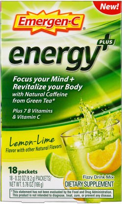 Emergen-C, Energy Plus, Lemon Lime, 18 Packets, 0.32 oz (9.2 g ) Each ,الفيتامينات، فيتامين ج