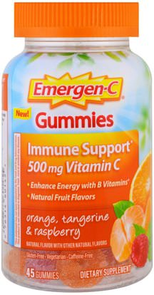Emergen-C, Guumies, Orange, Tangerine & Raspberry, 45 Gummies ,الفيتامينات، فيتامين ج