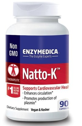 Enzymedica, Natto-K, Cardiovascular, 90 Capsules ,المكملات الغذائية، ناتوكيناس، الصحة