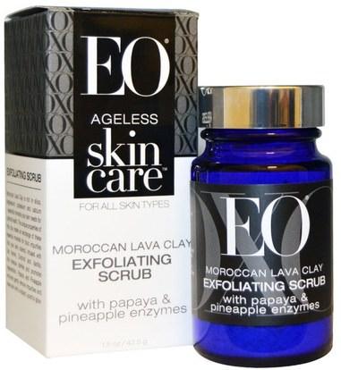 EO Products, Ageless Skin Care, Moroccan Lava Clay, Exfoliating Scrub, 1.5 oz (42.5 g) ,الجمال، العناية بالوجه، منظفات الوجه، تقشير الوجه
