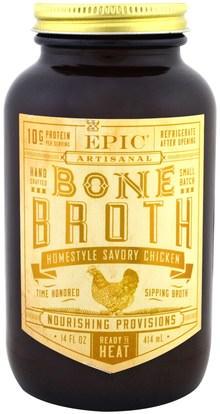 Epic Bar, Artisanal Bone Broth, Homestyle Savory Chicken, 14 fl oz (414 ml) ,الصحة، العظام، هشاشة العظام، الصحة المشتركة، مرق العظام، الغذاء، كيتو ودية