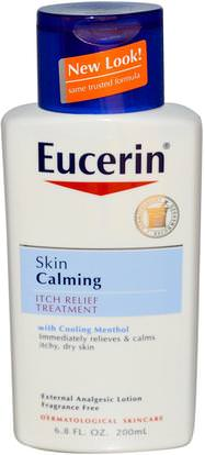 Eucerin, Skin Calming, Itch-Relief Treatment, Fragrance Free, 6.8 fl oz (200 ml) ,الصحة، التهاب الجلد، يوسيرين الهدوء