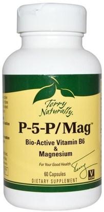 EuroPharma, Terry Naturally, P-5-P/Mag, 60 Capsules ,الفيتامينات، فيتامين ب، فيتامين b6 - البيريدوكسين، المكملات الغذائية، المعادن، المغنيسيوم