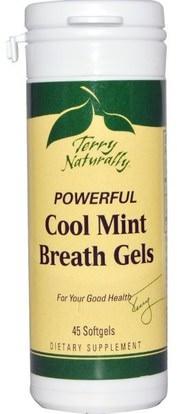 EuroPharma, Terry Naturally, Powerful Cool Mint Breath Gels, 45 Softgels ,حمام، الجمال، العناية بالأسنان عن طريق الفم، منتجات نظافة الفم