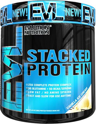 EVLution Nutrition, Stacked Protein, Vanilla Ice Cream, 6.34 oz (180 g) ,والرياضة، والمكملات الغذائية، بروتين مصل اللبن