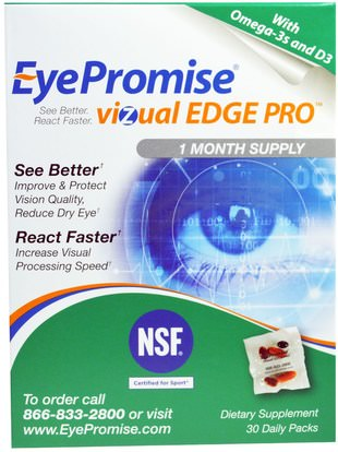 EyePromise, Vizual Edge Pro, 30 Daily Packs ,والرعاية الصحية، والعناية بالعيون، والرعاية الرؤية، والرؤية