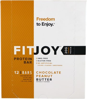 FITJOY, Protein Bar, Chocolate Peanut Butter, 12 Bars, 2.11 oz (60 g) Each ,والرياضة، والبروتين أشرطة
