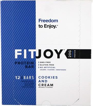 FITJOY, Protein Bar, Cookies and Cream, 12 Bars, 2.11 oz (60 g) Each ,والرياضة، والبروتين أشرطة