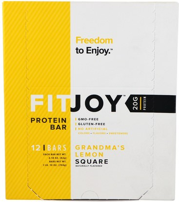 FITJOY, Protein Bar, Grandmas Lemon Square, 12 Bars, 2.18 oz (62 g) Each ,والرياضة، والبروتين أشرطة