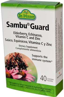 Flora, Dr. Dunner, Sambu Guard, 40 Lozenges ,والصحة، والانفلونزا الباردة والفيروسية، إلديربيري (سامبوكوس)، والنباتات