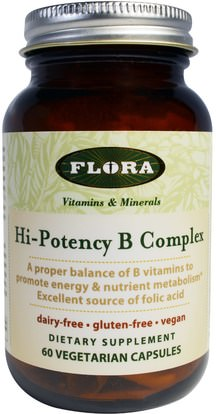 Flora, Hi-Potency B Complex, 60 Veggie Caps ,الفيتامينات، فيتامين ب المعقدة
