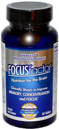 Focus Factor, Nutrition For The Brain, 60 Tablets ,الصحة، اضطراب نقص الانتباه، إضافة، أدهد، الدماغ، فينبوسيتين، الذاكرة