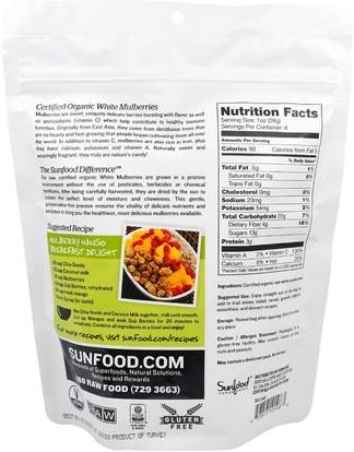 الطعام، الفاكهة المجفوفة، التوت Sunfood, Raw Organic White Mulberries, 8 oz (227 g)