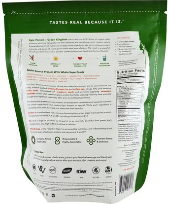 الطعام، حساء الباستا الأرز والحبوب والأرز والمكملات الغذائية والبروتين والبروتين الأرز Sprout Living, Epic Protein, Green Kingdom, 1 kg (1,000 g)