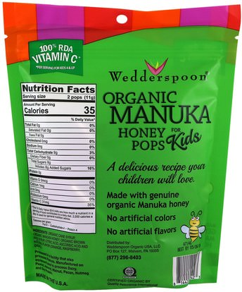 الطعام، الوجبات الخفيفة، الحلوى Wedderspoon, Organic Manuka Honey Pops For Kids, Orange, Grape & Raspberry, 24 Count, 4.15 oz