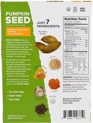 الطعام، الوجبات الخفيفة، الوجبات الصحية الصحية، المكملات الغذائية، الحانات الغذائية Health Warrior, Inc., Pumpkin Seed Superfood Bar, Honey Cracked Pepper with Turmeric, 12 Bars, 1.23 oz (35 g) Each
