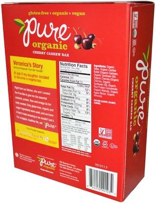 الطعام، الوجبات الخفيفة، الوجبات الصحية الصحية، المكملات الغذائية، الحانات الغذائية Pure Bar, Organic, Cherry Cashew, 12 Bars, 1.7 oz (48 g) Each