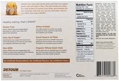 الطعام، الوجبات الخفيفة، بروتين أشرطة Detour, Gluten Free Oatmeal Bar, Peanut Butter Chocolate, 9 Bars, 1.3 oz (38 g) Each
