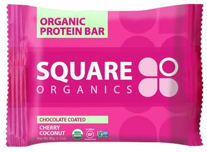 الطعام، الأطعمة النباتية، بروتين أشرطة Square Organics, Organic Protein Bar, Chocolate Coated Cherry, 12 Bars, 1.7 oz (48 g) Each