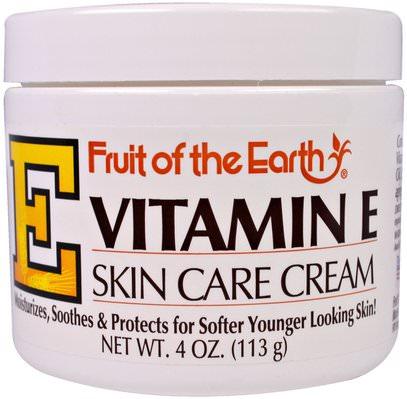 Fruit of the Earth, Vitamin E, Skin Care Cream, 4 oz (113 g) ,الصحة، الجلد، فيتامين ه كريم النفط