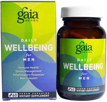 Gaia Herbs, Daily WellBeing for Men, 60 Vegan Caps ,الصحة، مكافحة الإجهاد، الرجال