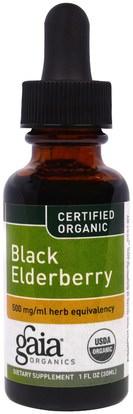 Gaia Herbs, Organic Elderberry, 1 fl oz (30 ml) ,الصحة، الإنفلونزا الباردة والفيروسية، إلديربيري (سامبوكوس)
