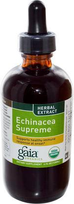 Gaia Herbs, Organics, Echinacea Supreme, 4 fl oz (120 ml) ,المكملات الغذائية، المضادات الحيوية، السوائل إشنسا