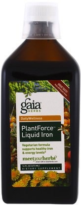 Gaia Herbs, PlantForce Liquid Iron, 16 fl oz (473 ml) ,المكملات الغذائية، والمعادن، والحديد