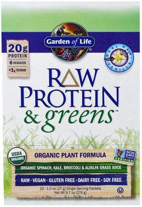 Garden of Life, Raw Protein & Greens, Organic Plant Formula, Real Raw Vanilla, 10 Packets, 1.0 oz (27 g) Each ,المكملات الغذائية، البروتين، سوبرفوودس، الخضر
