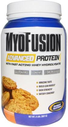 Gaspari Nutrition, MyoFusion, Advanced Protein, Peanut Butter Cookie, 2 lbs (907 g) ,المكملات الغذائية، بروتين مصل اللبن، والعضلات