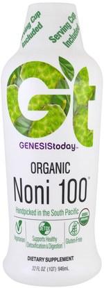 Genesis Today, Organic Noni 100, 32 fl oz (946 ml) ,والمكملات الغذائية، والأغذية والمشروبات وعصائر الفاكهة