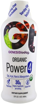 Genesis Today, Organic Power 4, 32 fl oz (946 ml) ,والمكملات الغذائية، والأغذية والمشروبات وعصائر الفاكهة