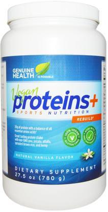 Genuine Health Corporation, Vegan Proteins+, Natural Vanilla Flavor, 27.5 oz (780 g) ,والمكملات الغذائية، والبروتين