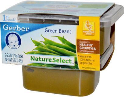 Gerber, 1st Foods, NatureSelect, Green Beans, 2 Packs, 2.5 oz (71 g) Each ,صحة الأطفال، أغذية الأطفال، تغذية الطفل، الغذاء
