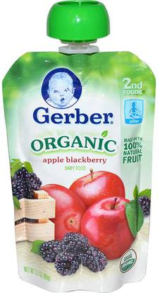 Gerber, 2nd Foods, Organic Baby Food, Apple Blackberry, 3.5 oz (99 g) ,صحة الأطفال، أغذية الأطفال، تغذية الطفل، الغذاء