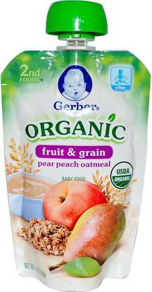 Gerber, 2nd Foods, Organic Baby Food, Fruit & Grain, Pear Peach Oatmeal, 3.5 oz (99 g) ,صحة الأطفال، أغذية الأطفال، تغذية الطفل، الغذاء