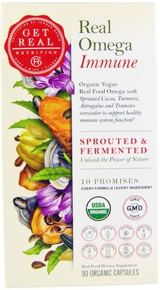 Get Real Nutrition, Real Omega Immune, 90 Organic Capsules ,المكملات الغذائية، إيفا أوميجا 3 6 9 (إيبا دا)، أوميغا 369 قبعات / علامات التبويب