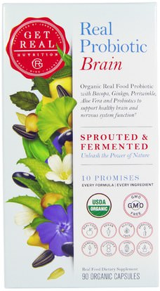 Get Real Nutrition, Real Probiotic Brain, 90 Organic Capsules ,والصحة، واضطراب نقص الانتباه، إضافة، أدهد، الدماغ
