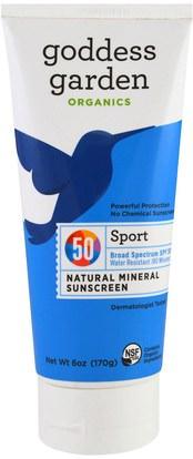 Goddess Garden, Organic,Sport, Natural Mineral Sunscreen, SPF 50, 6 oz (170 g) ,الجمال، حمام، واقية من الشمس