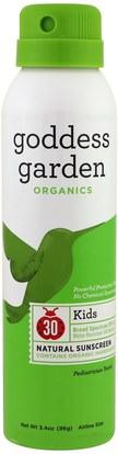 Goddess Garden, Organics, Kids, Natural Sunscreen, SPF 30, 3.4 oz (96 g) ,حمام، الجمال، واقية من الشمس، سف 30-45