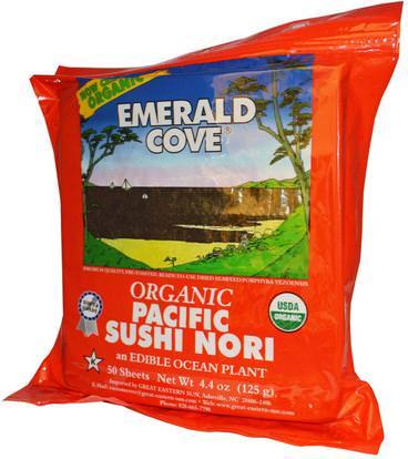Great Eastern Sun, Emerald Cove, Organic Pacific Sushi Nori, 50 Sheets, 4.4 oz (125 g) ,المكملات الغذائية، الطحالب المختلفة، عظيم الشمس الشرقي الزمرد كوف البحر الخضار