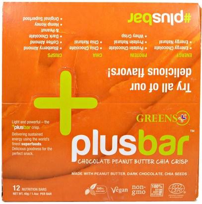 Greens Plus, PlusBar, Chocolate Peanut Butter Chia Crisp, 12 Bars, 1.4 oz (40 g) Each ,والمكملات الغذائية، إيفا أوميجا 3 6 9 (إيبا دا)، بذور شيا، والغذاء والوجبات الخفيفة والوجبات الخفيفة الصحية