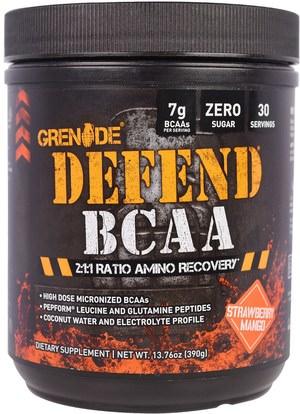 Grenade, Defend BCAA, Strawberry Mango, 13.76 oz (390 g) ,المكملات الغذائية، والأحماض الأمينية، بكا (متفرعة سلسلة الأحماض الأمينية)