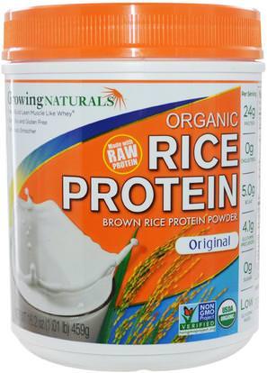 Growing Naturals, Organic Raw Rice Protein, Original, 16.2 oz (459 g) ,المكملات الغذائية، البروتين، مسحوق بروتين الأرز