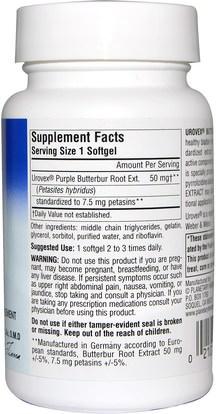 والصحة، والحساسية، والزبدة Planetary Herbals, Urovex, Butterbur Extract, 20 Softgels