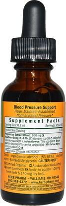 والصحة، وضغط الدم Herb Pharm, Blood Pressure Support, 1 fl oz (30 ml)