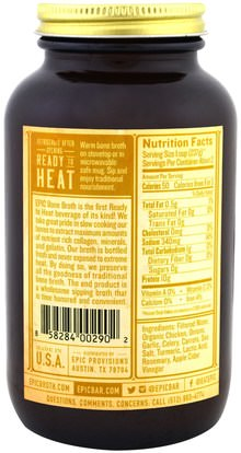 الصحة، العظام، هشاشة العظام، الصحة المشتركة، مرق العظام، الغذاء، كيتو ودية Epic Bar, Artisanal Bone Broth, Homestyle Savory Chicken, 14 fl oz (414 ml)